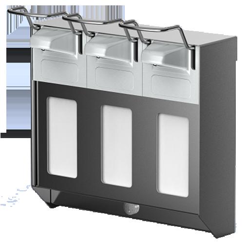 3 fach kombi spender f r fl ssigseifen h ndedesinfektion und lotion 3er geh use 500 oder 1000 ml. Black Bedroom Furniture Sets. Home Design Ideas