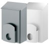 x Abfallbehälter mit Hygienebeutelspender, Edelstahl grau bzw. weiss, 7 Liter