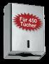 Spender Falthandtuchpapier -Euroseptica Falthandtuchspender aus Edelstahl, für 450 Tücher