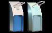 x Euroseptica Spender für Seife und Desinfektionsmittel, Edelstahl, 500 ml, blau- oder klar-transparente Abdeckung
